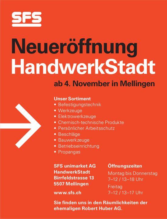 Neueröffnung HandwerkStadt am 4. November in Mellingen