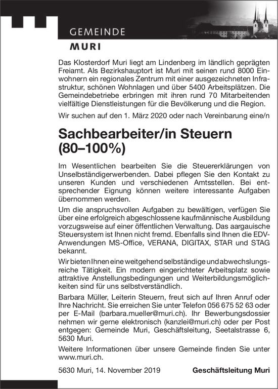 Sachbearbeiter/in Steuern (80–100%) gesucht
