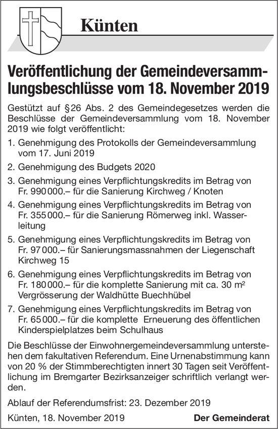 Gemeinde Künten - Veröffentlichung der Gemeindeversamm- lungsbeschlüsse vom 18. November 2019