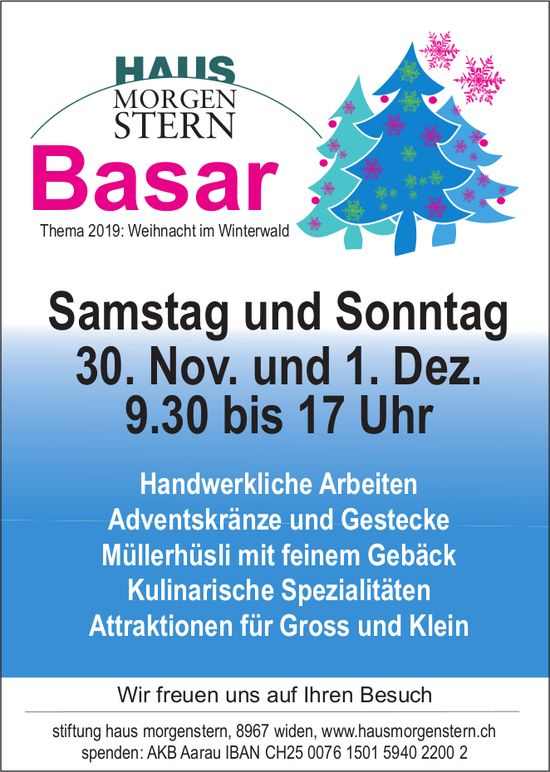Weihnachtsbasar am 30. November in Widen