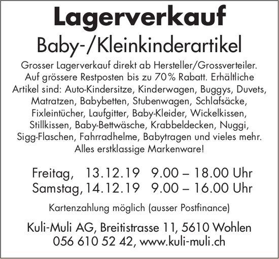 Lagerverkauf Baby-/Kleinkinderartikel Kuli-Muli AG Wohlen