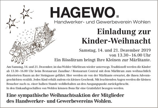 HAGEWO. Handwerker- und Gewerbeverein Wohlen - Kinder-Weihnacht am 21. Dezember