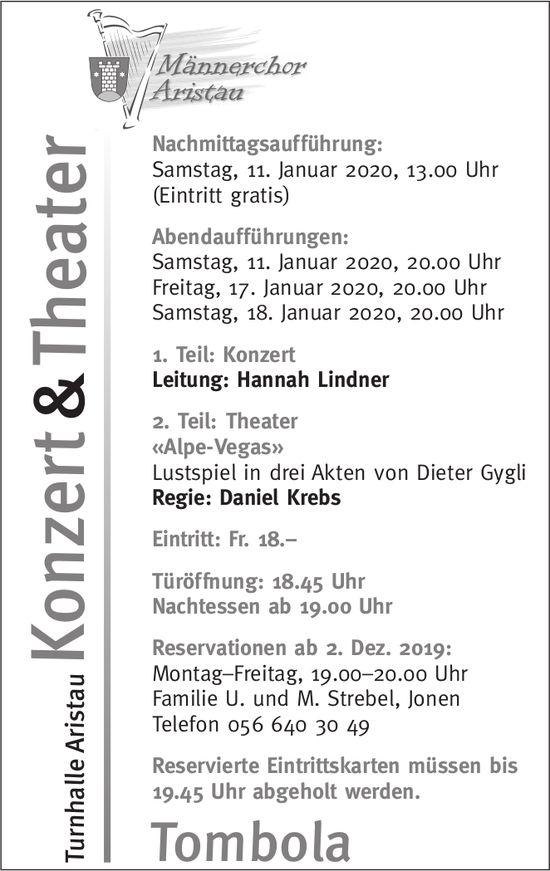 Männerchor Aristau - Konzert & Theater im Januar