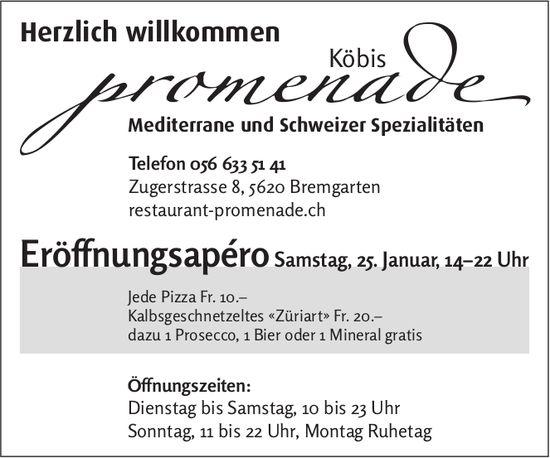 Eröffnungsapéro, 25. Januar, Köbis Promenade,  Bremgarten