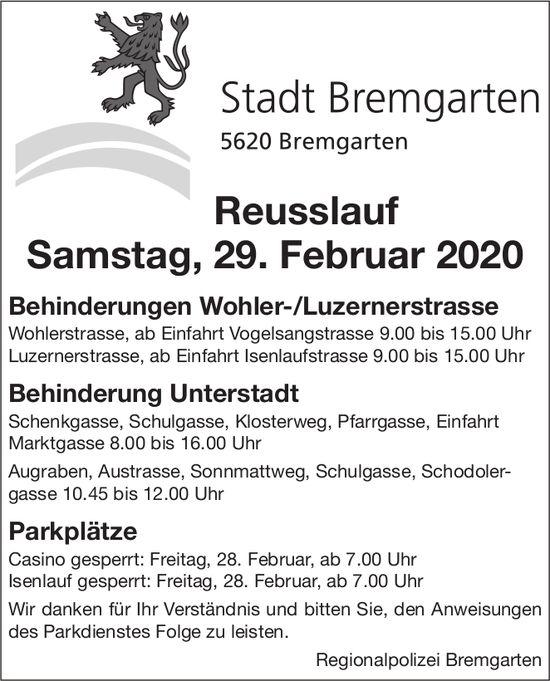Stadt Bremgarten - Behinderung Reusslauf 29. Februar