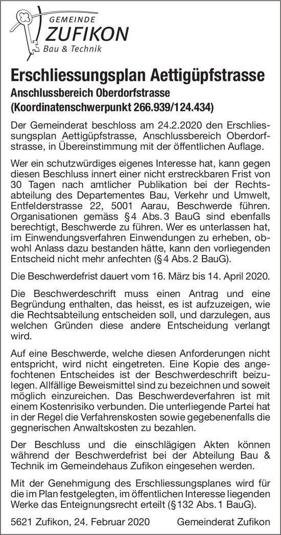 Gemeinde Zufikon - Erschliessungsplan Aettigüpfstrasse