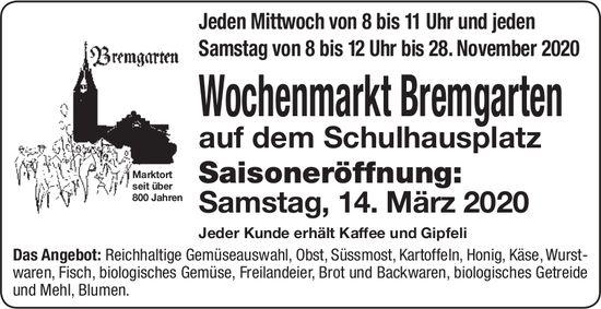 Wochenmarkt Bremgarten, Eröffnung am 14. März