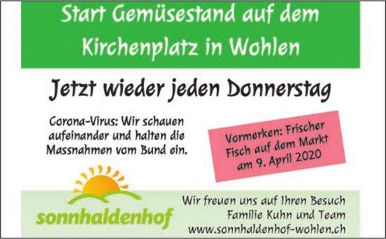 Sonnhaldenhof Gemüsestand jeden Donnerstag in Wohlen