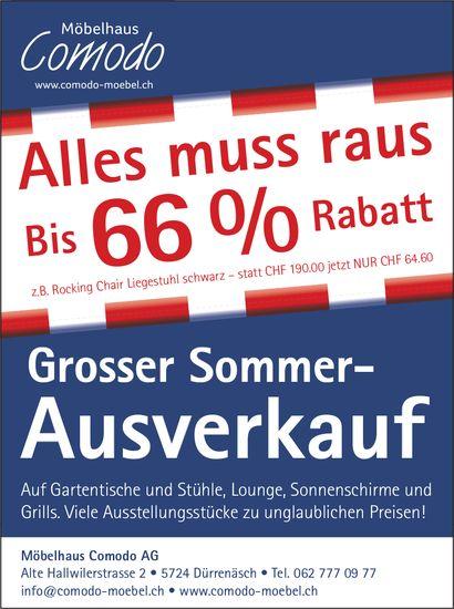 Möbelhaus Comodo AG, Dürrenäsch - Grosser Sommer- Ausverkauf, bis 66% Rabatt