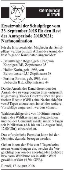 Ersatzwahl der Schulpflege, Birrwil