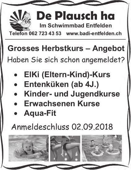 Schwimmbad Entfelden - Grosses Herbstkurs - Angebot
