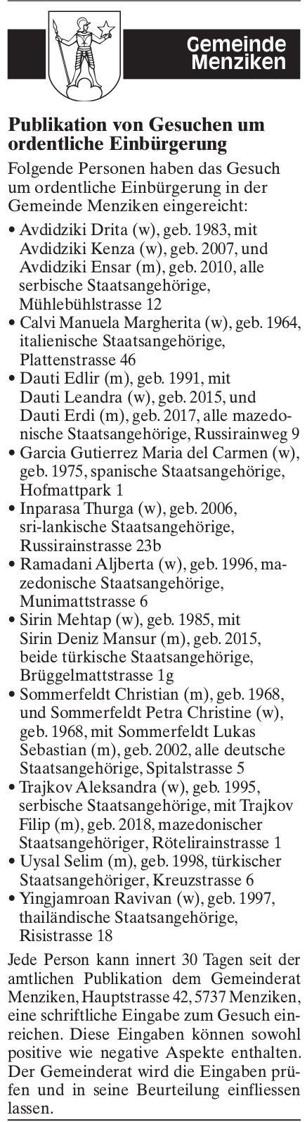 Publikation von Gesuchen um ordentliche Einbürgerung, Menziken