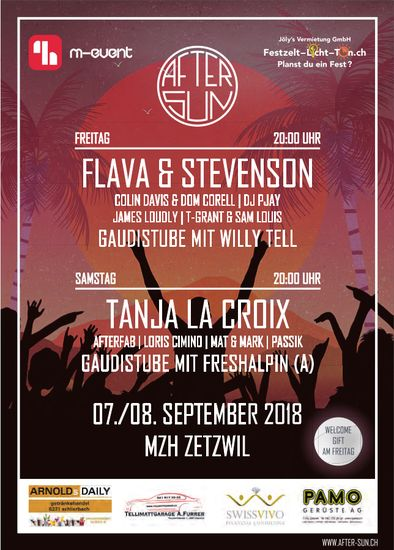 AFTER SUN, FLAVA & STEVENSON, TANJA LA CROIX etc., 7./8. September, MZH Zetzwil