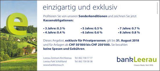 Bank Leerau - einzigartig und exklusiv