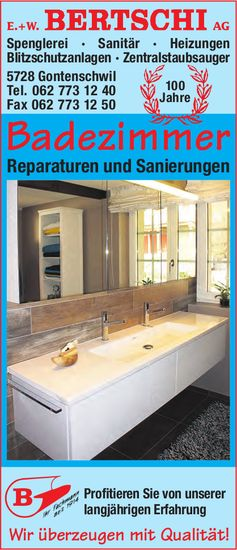 E.+W. BERTSCHI AG, Gontenschwil - Badezimmer Reparaturen & Sanierungen