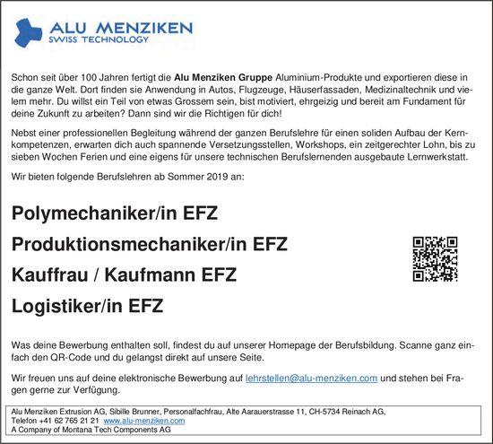 Lehrstellen 2019, Alu Menziken Extrusion AG, Reinach AG, zu vergeben