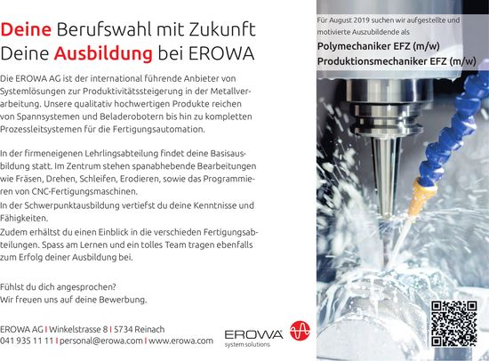 Lehrstellen 2019, Polymechaniker EFZ (m/w) Produktionsmechaniker EFZ (m/w), EROWA AG, Reinach