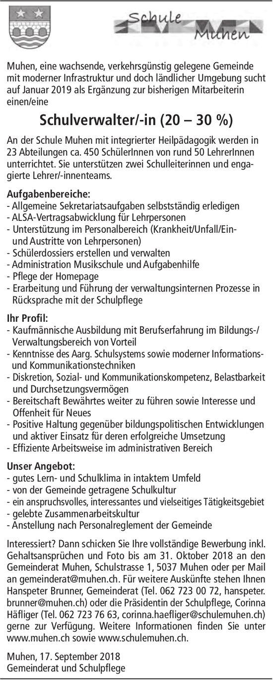 Schulverwalter/-in (20 – 30 %), Schule Muhen, gesucht