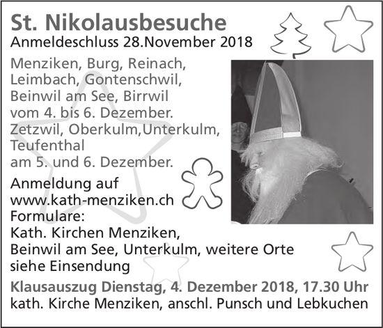 St. Nikolausbesuche, 28. November, Menziken