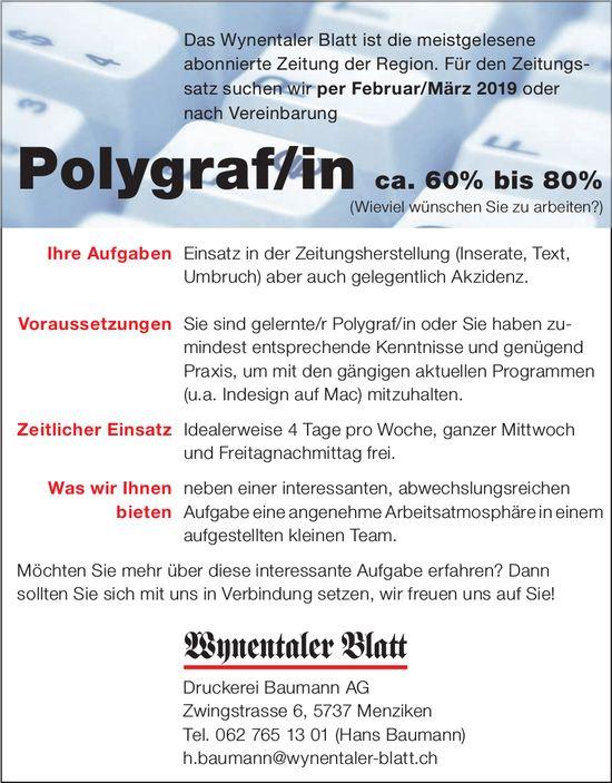 Polygraf/in ca. 60% bis 80%, Druckerei Baumann AG, Wynentaler Blatt, Menziken, gesucht