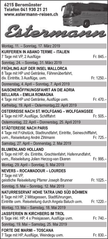 Reiseprogramm, Estermann Reisen, Beromünster