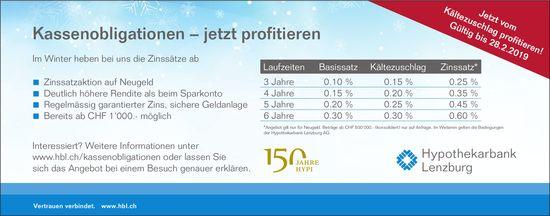 Hypothekarbank Lenzburg - Kassenobligationen – jetzt profitieren