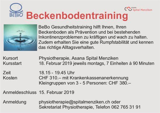 Beckenbodentraining, Kursstart 18. Februar, Physiotherapie, Asana Spital Menziken