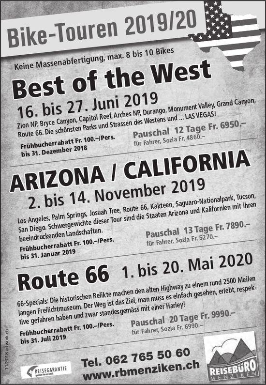 Bike-Touren 2019/20, Reisebüro, Menziken