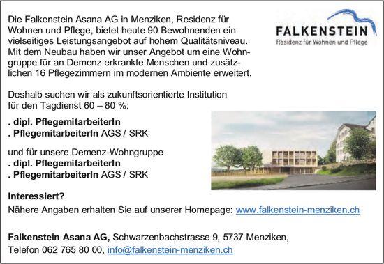 Dipl. Pflegemitarbeiterlnnen, Pflegemitarbeiterlnnen AGS/ SRK, Falkenstein Asana AG, Menziken