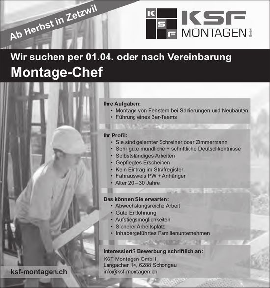 Montage-Chef, KSF Montagen GmbH, Schongau, gesucht