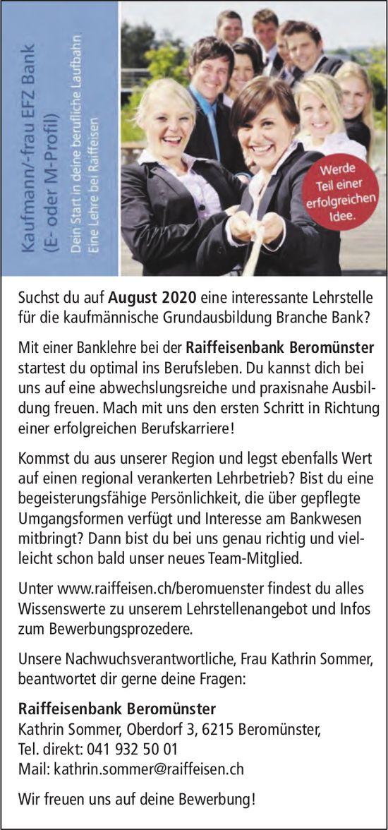 Lehrstelle als Kaufmann/-frau EFZ Bank, Raiffeisenbank Beromünster, zu vergeben