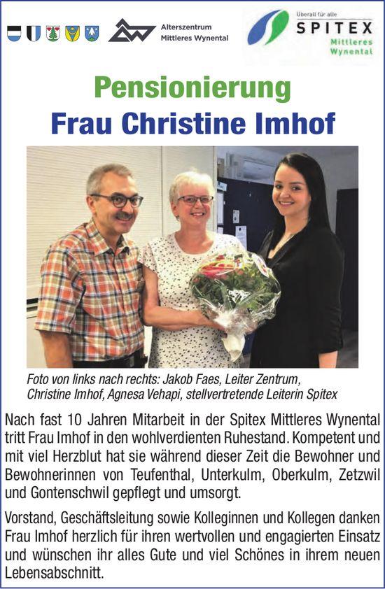 Spitex Mittleres Wynental - Pensionierung Frau Christine Imhof