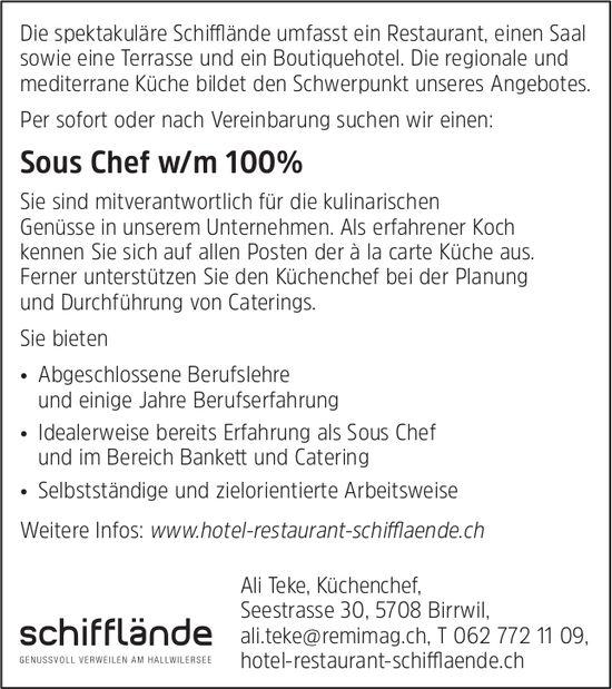 Sous Chef w/m 100%, Hotel Restaurant Schifflände, Birrwil, gesucht