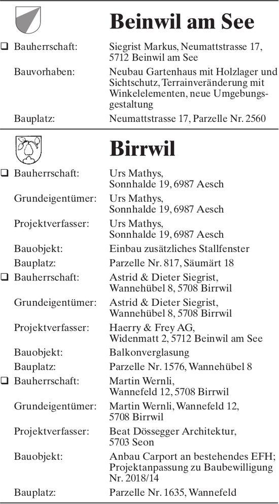 Baugesuche Beinwil am See & Birrwil