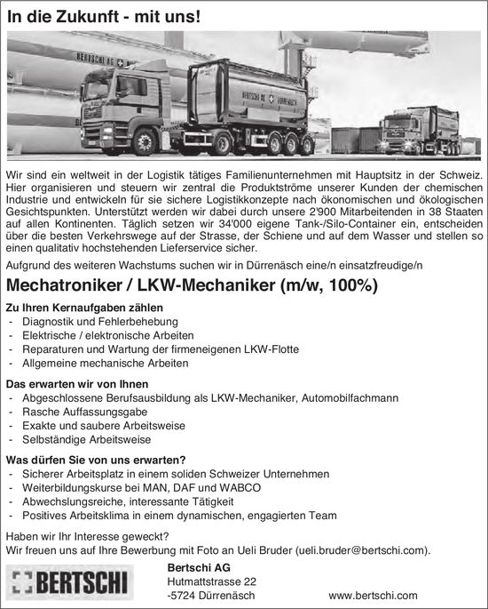 Mechatroniker / LKW-Mechaniker (m/w, 100%), Bertschi AG, Dürrenäsch, gesucht