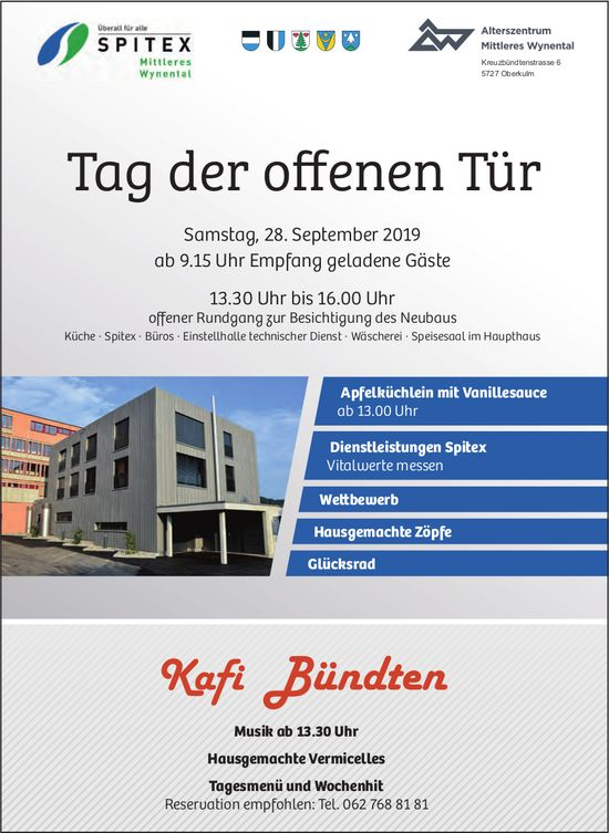 Tag der offenen Tür, Kafi Bündten, 28. September, Oberkulm