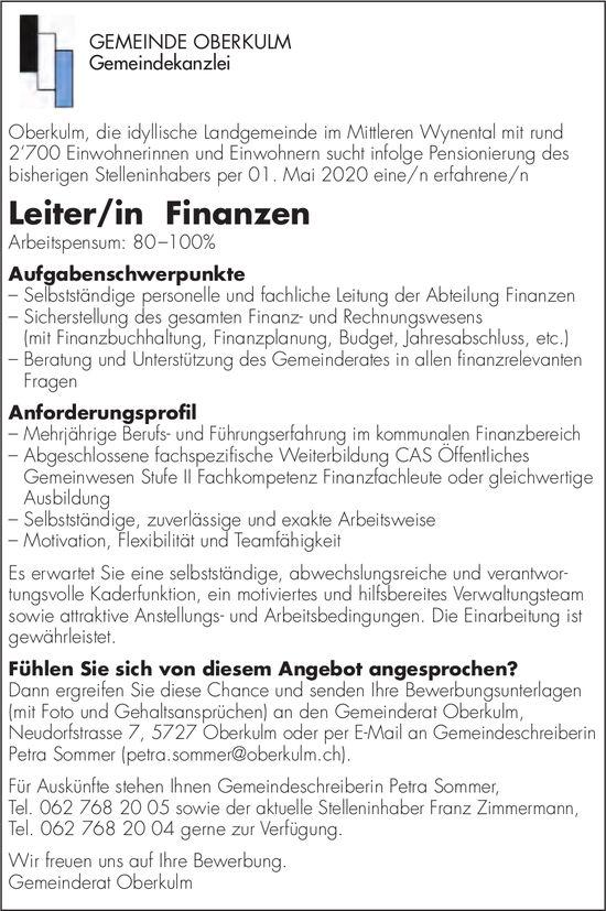 Leiter/in Finanzen, GEMEINDE OBERKULM, gesucht