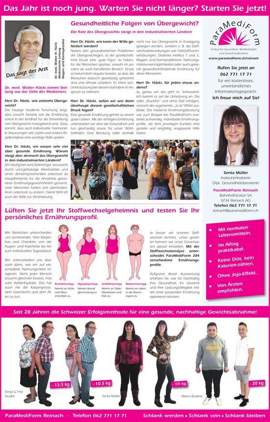 ParaMediForm,  Reinach AG, Gesundheitliche Folgen von Übergewicht?