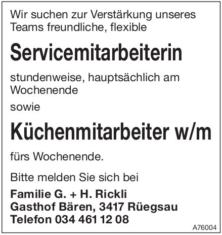 Servicemitarbeiterin sowie Küchenmitarbeiter w/m, Rüegsau, gesucht