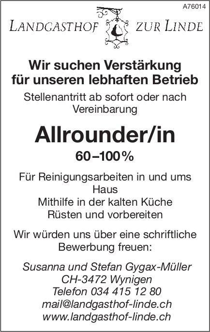 Allrounder/in 60–100%, Landgasthof zur Linde, Wynigen, gesucht