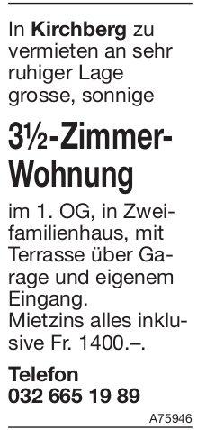 3.5-Zimmer-Wohnung, Kirchberg, zu vermieten
