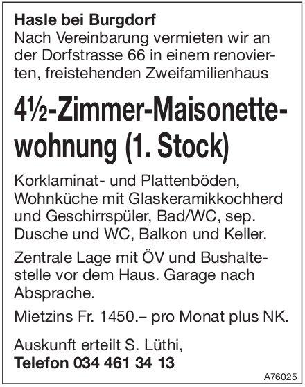 4.5-Zimmer-Maisonettewohnung, Hasle bei Burgdorf, zu vermieten