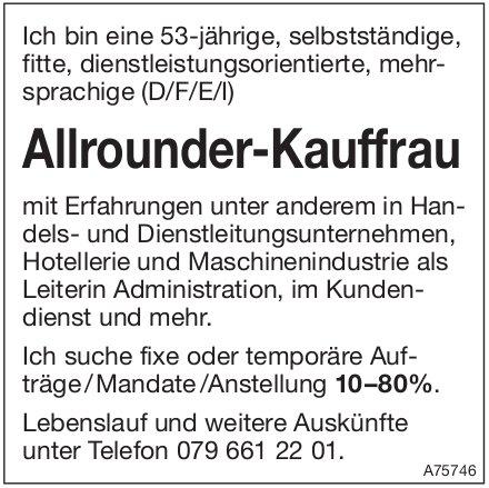 Allrounder-Kauffrau, sucht fixe oder temporäre Aufträge / Mandate / Anstellung 10–80%.