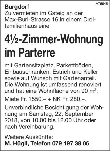 4.5-Zimmer-Wohnung im Parterre, Burgdorf, zu vermieten