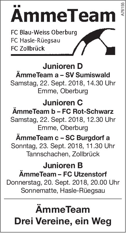 Spielplan ÄmmeTeam, 20./22. + 23. September
