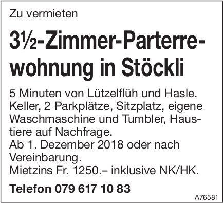 3½-Zimmer-Parterrewohnung in Stöckli zu vermieten