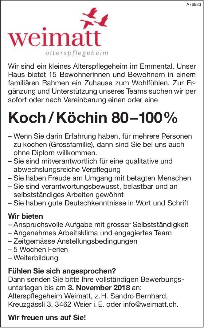 Koch /Köchin 80–100% bei Weimatt Alterspflegeheim gesucht