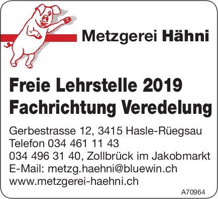 Metzgerei Hähni - Freie Lehrstelle 2019 Fachrichtung Veredelung