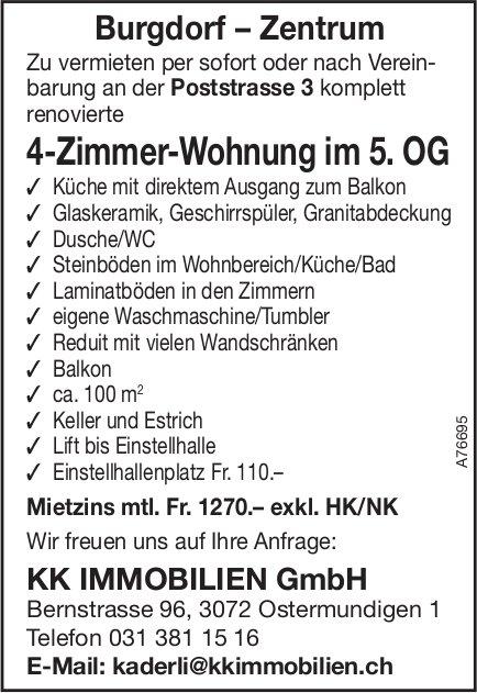 4-Zimmer-Wohnung im 5.OG in Burgdorf–Zentrum zu vermieten
