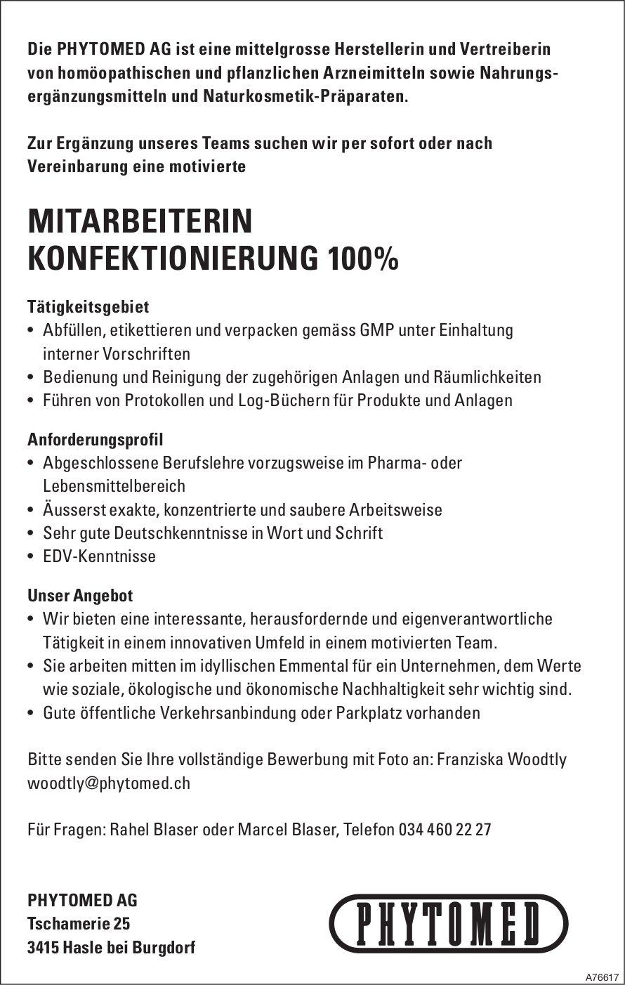 MITARBEITERIN KONFEKTIONIERUNG 100% BEI PHYTOMED AG GESUCHT